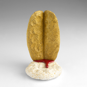 <I>Gold, Frankencense, and Murder</i> 2012 Ceramic, glaze, catalyzed polyurethane, and epoxy resin 6 1/4 x 3 3/4 x 4 inches; 16 x 10 x 10 cm
