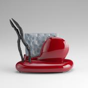 <I>Stink Line</i> 2013 Ceramic, glaze, catalyed polyurethane, epoxy resin 6 1/4 x 6 x 2 1/4 inches; 16 x 15 x 6 cm