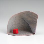 <I>Waiting for Jumbot</i> 2009 Ceramic, underglaze, china paint, and epoxy resin 4 3/4 x 6 1/2 x 3 3/4 inches; 12 x 17 x 10 cm