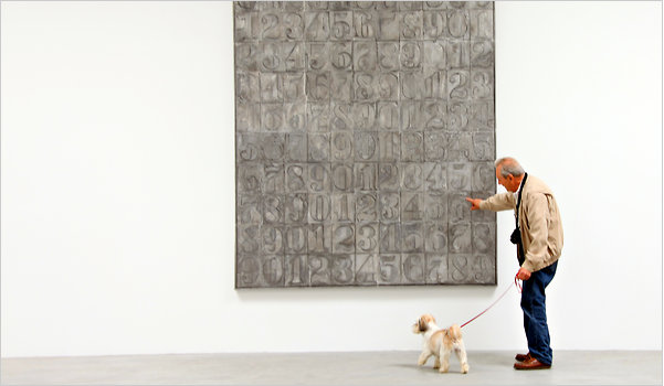 Viewer at Jasper Johns, &lt;i&gt;New Sculpture and Works on Paper&lt;/i&gt;, from The New York Times. The article can be viewed &lt;a href=&quot;http://www.nytimes.com/2011/05/20/arts/design/sculpture-exhibitions-in-high-relief-review.html?_r=1&amp;scp=2&amp;sq=jasper%20johns&amp;st=cse&quot;&gt;here.&lt;http://www.nytimes.com/2011/05/20/arts/design/sculpture-exhibitions-in-high-relief-review.html?_r=1&amp;scp=2&amp;sq=jasper%20johns&amp;st=cse/&gt; &lt;/a&gt;