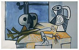 <i>Still Life with Death's Head, Leeks, and Pitcher before a Window</i> 1945 Oil on canvas 30 x 46 inches