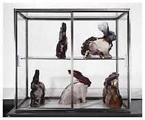 <i>Surrogates (Bowli)</i> 1994/97 Chocolate, coffee, graveyard dirt,strychnine, costume  jewelry, handkerchiefs, candy, wax, 10 parts: 9 1/2 x 9 x 2 1/2 inches each; 24 x 23 x 6 cm each