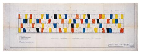 <i>Study for Sculpture for a Large Wall, 1957, 1st color plan</i> 1956 Ink on blueprint 14 7/8 x 42 1/16 inches; 38 x 107 cm