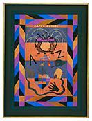 <i>Happy Gunsel</i> 2001 Goat, box calf, lizard, pig, snake, blue foil, gold 47 x 34 3/4 inches 119 x 88 cm