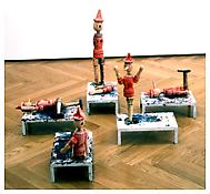 <i>Flayed</i> 1993 Wood, steel and enamel (five parts) 15 x 6 x 10 inches; 38 x 16 x 26 cm (each approximately)