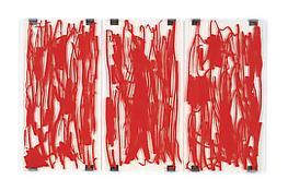 <i>Panorama (Valentine)</i> 1999 Silkscreen on plexiglas with metal brackets; 3 parts 72 x 114 inches; 183 x 290 cm