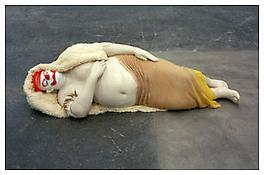 <i>If There Were Anywhere But Desert.  Friday</i> 2002 Fiberglass, paint, clothing 20 x 72 x 54 inches