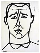 <i>Self-Portrait</i> 1949 Ink on paper 16 1/2 x 12 inches; 42 x 30 cm