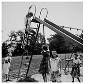 <i>Children on a Slide, Southbury</i> 1957 Gelatin-silver print Image: 13 x 13 1/8 inches; 33 x 33 cm Sheet: 16 7/8 x 14 inches; 43 x 36 cm