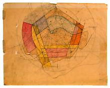 <i>Olsen House</i> 1951 Colored pencil on paper 18 3/4 x 23 7/8 inches; 48 x 61 cm