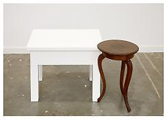 <i>A New Table With a Three Legged Table</i> 2008 Maple with oil enamel paint, found table 18 x 33 1/4 x 23 inches; 46 x 85 x 58 cm