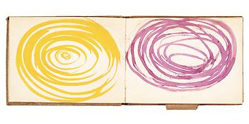 Louise Bourgeois <i>Album à Dessin</i> ca. 1950 - 1980 Bound between linen-covered boards with attached pencil loop 32 sheets Ink, crayon, and graphite on paper 5 1/4 x 7 inches; 13.5 x 18 cm