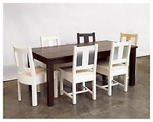 <i>Would Table</i> 2005 Ebonized white oak 29 1/2 x 72 x 36 inches; 75 x 183 x 91 cm  And  <i>Simple Chairs</i>  2005 Set of six chairs with various finishes 36 x 19 x 22 inches each; 91 x 48 x 56 cm (each)