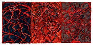 <i>Nevisian Triptych</i> 2007-08 Kremer ink on heavyweight handmade paper Three sheets, overall: 30 1/4 x 14 1/8 inches; 77 x 36 cm