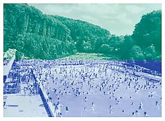 <i>2. Postkarte (Langenberg) [2nd Postcard (Langenberg)]</i> 2006 Oil-based ink and acrylic on plastic panel 78 3/4 x 110 inches; 200 x 280 cm