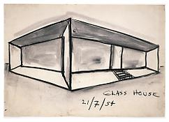 <i>Glass House</i> 1954 Charcoal on paper 12 1/8 x 17 3/8 inches; 31 x 44 cm