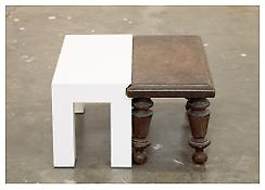 <i>A New Table With an Old Footstool</i> 2008 Maple with oil enamel paint, found footstool 7 1/4 x 12 1/3 x 12 1/3 inches; 18 x 31 x 31 cm