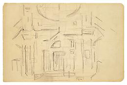 Piet Mondrian <i>Church Facade</i> c. 1912 Graphite on paper 6 1/8 x 9 3/8 inches; 16 x 24 cm