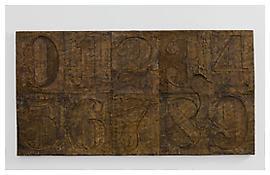 <i>0 - 9 (with Merce's Footprint)</i>, 2009, Bronze. 19 1/4 x 37 1/4 x 1 1/4 inches; 49 x 95 x 3 cm
