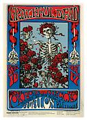 Stanley Mouse/ Kelley <i>Grateful Dead, Oxford Circle (Skeleton & Roses). Avalon Ballroom, September 16 & 17, 1966</i> 1966 Offset lithograph 20 x 14 inches; 48 x 36 cm