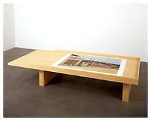 <i>Ouverture III</i> 1996 Wood and photograph 40  x 53 7/8 inches (photograph) 168 7/8 x 47 1/4 x 82 5/8 inches (table)
