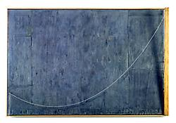 <i>Catenary (Manet-Degas)</i> 1999 Encaustic and collage on canvas with objects 38 x 57 1/4 x 6 inches; 97 x 145 x 15 cm