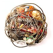 <i>Untitled (#345)</i> c. 1970 Wire collage and found objects 4 1/2 x 5 1/4 x 3 3/4 inches 11 x 13 x 10 cm