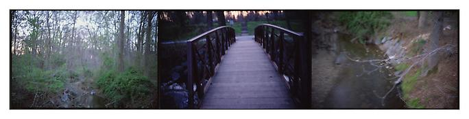 <i>Bridge down to the train tracks, Silver Spring, MD</i> 2004-2005 Three mounted cibachrome prints 18 x 72 inches overall; 46 x 183 cm overall