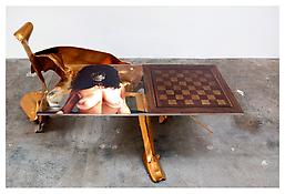 <i>Have a Nice Day, 2005</i> 2005 Gold metal table frame with silkscreen on Plexiglas Table: 48 x 81 x 62 inches; 123 x 205 x 158 cm Plexi top: 36 x 75 inches; 91 x 191 cm