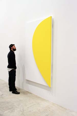 "Inspecting <i>Yellow Relief with White</I>, 2011, at the opening reception of <i>Ellsworth Kelly: Los Angeles</I>, the first exhibition at Matthew Marks' new gallery in LA. Visit <a href=""http://www.juxtapoz.com/Current/in-la-ellsworth-kelly-matthew-marks-gallery"">Juxtapoz Magazine<http://www.juxtapoz.com/Current/in-la-ellsworth-kelly-matthew-marks-gallery></a> for more images."
