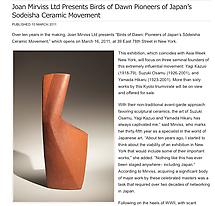 Joan Mirviss Ltd Presents Birds of Dawn Pioneers of Japan's Sodeisha Ceramic Movement