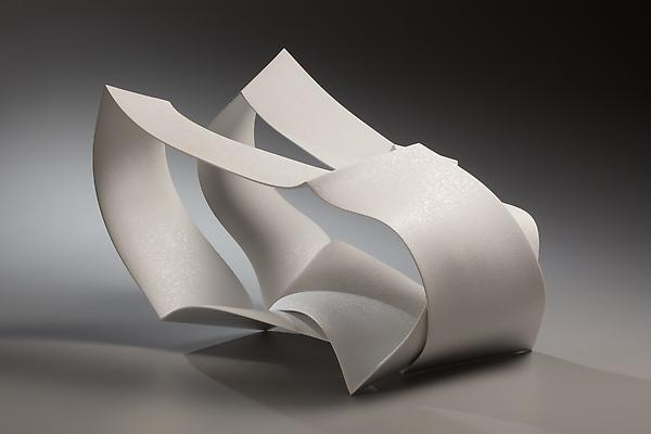 "Nagae Shigekazu (b. 1953) Ceramic sculpture titled ""Forms in Succession #7"", 2010 Slip-cast porcelain  with clear glaze and spotted patterning 9 1/2 x 17 x 11 1/2 inches Inv# 6762 $ 9,650"