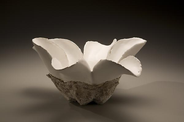 Koike Shoko (b. 1943) Biomorphic sculpture with white glaze and etched surface Inv# 5740