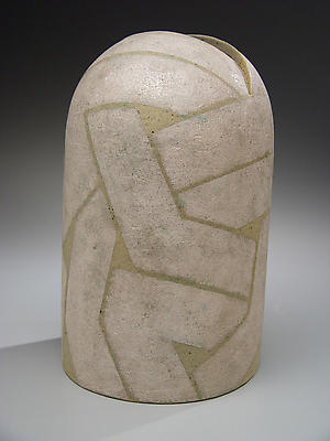 KURIKI TATSUSUKE Rounded, leaning vase with linear patterning and metallic glaze  1988  Stoneware  11 1/4 x 7 x 7 inches Inv# 5112