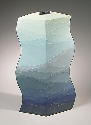 <i>Moeru Umi</i> (Budding Sea) 2006 Stoneware and colored clay overlays 23 1/2 x 12 3/4 x 4 1/4 inches