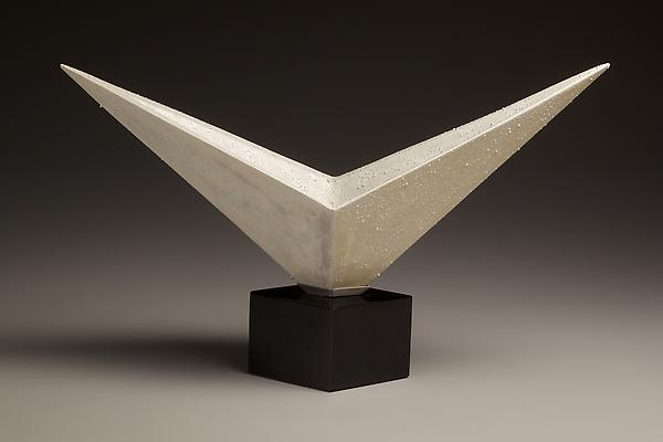 Kondô Takahiro (b. 1958) V-shaped white glazed porcelain form with gold and silver mist over-glazes and black cast glass base, 2010 Porcelain with white and metallic glazes 6 1/4 x 17 3/4 x 5 1/8 inches  Inv# 6728; $ 9,350