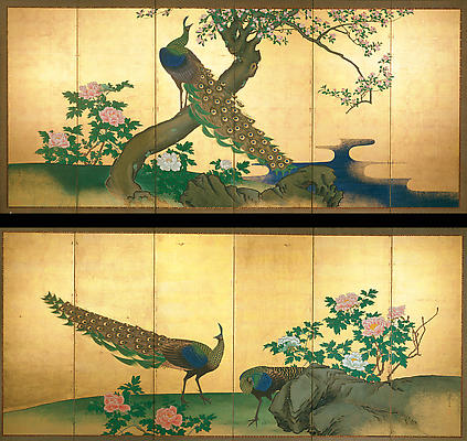 HARA ZAICHU Two peacocks and a peahen with peony bushes and a blossoming cherry tree 1826 Pair of six-fold screens; Ink, color, and gofun on paper with gold leaf 68 1/4 x 144 1/2 inches Inv# 5001