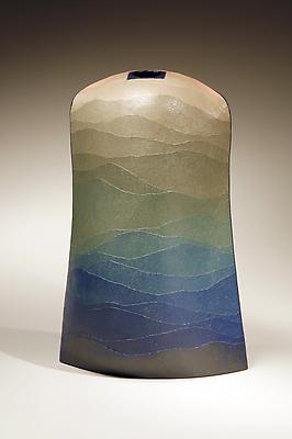 <i>Hijyō no Kaze</i> (Bountiful Wind) 2006 Stoneware and colored clay overlays 15 3/8 x 5 x 13 3/4 inches