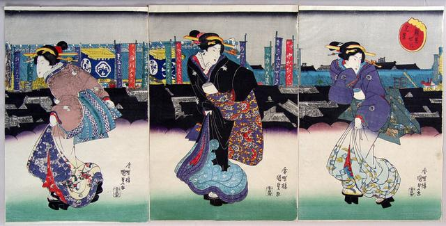 UTAGAWA KUNISADA (1786-1865) Three courtesans on their way to a kabuki performance, ca. 1830s Ôban tate-e triptych Inv# 5670 $ 3,200 Image