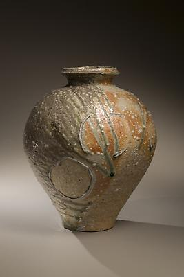 Vessel with tapered base and natural ash glaze in gray and light green tones, 2008 Stoneware with Natural ash glaze 18 x 13 1/2 in.  Inv# 5724 $ 5,800 Image