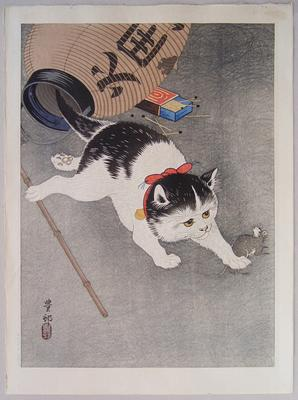 OHARA SHÔSON (1877-1945) Cat pounces on a mouse after knocking over a paper lantern, ca. 1930 Ôban tate-e Inv# 5860 $ 2,500 Image