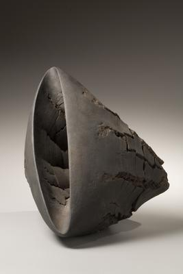"Untitled T-51 (with wooden stand) 2007 Stoneware with wood base 15 x 14 1/8"" stand: 8 1/4 x 12 1/4 x 39 3/8"" Inv# 5924 SOLD Image"