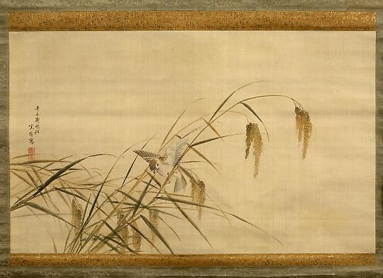 Sparrow in rice plants, 1871, Autumn Hanging scroll; Ink and color on silk 15 ¼ x 25 ¼  inches Inv# 5939 $ 7,850 Image