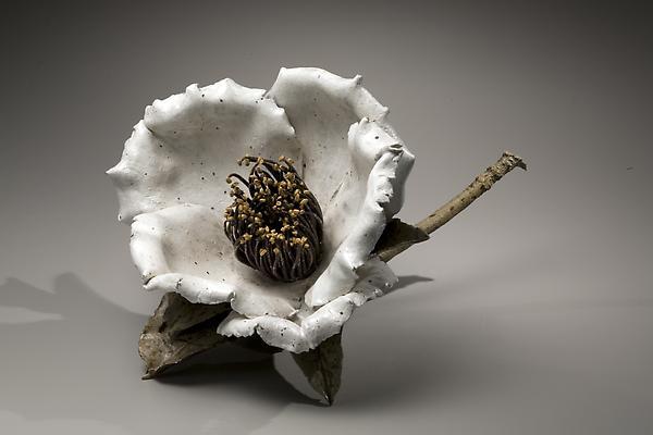 Sugiura Yasuyoshi (b. 1949) Sculpture of a Camellia, 2008 Stoneware 9 7/8 x 15 3/4 x 15 3/4 inches Inv# 5920