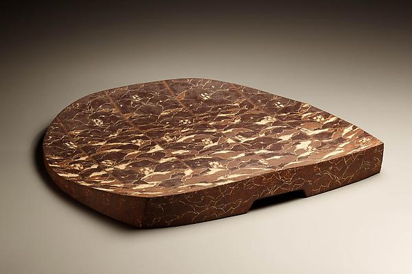 Wada Morihiro (1944 - 2008) So-un-ka-mon-sara; Large plate with layered abstracted designs of clouds and flowers, 1991 Stoneware 2 1/8  x 19 7/16 x 21 1/8 inches Inv# 6093