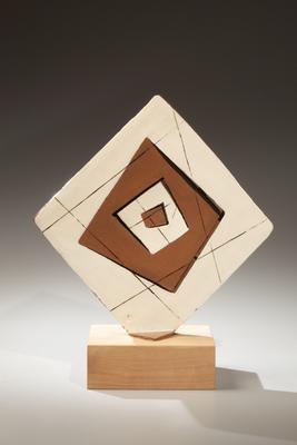 Diamond-shaped glazed stoneware sculpture 1972 Glazed stoneware 12 1/4 x 12 1/4 x 3 1/8 in. Inv# 6751 SOLD Image