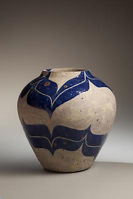 Kamoda Shôji (1933-1983) Large vessel with blue enamel glazed banding, 1976 Glazed stoneware 10 1/4 x 10 1/2 in. With original signed box