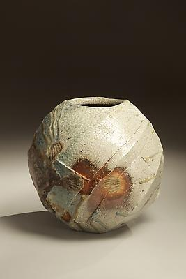 Spherical Tanba vessel with faceted diagonal banding and dripping natural ash glaze and markings from impressed shells, 2011 Wood-fired stoneware with natural ash glaze 13 1/2 x 14 1/2 inches; Inv# 6888 SOLD