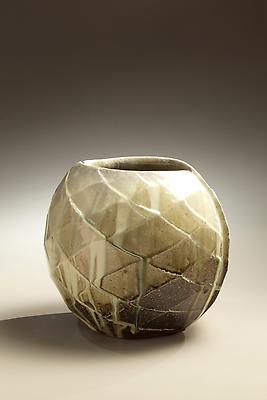 Wide mouthed spherical <i>Tanba</i> vessel with diamond-shaped carved surface patterning and ladle-poured ash glaze, 2010 Wood-fired stoneware with ash glaze 10 1/4 x 12 1/4 x 10 5/8 inches; Inv# 6891 SOLD