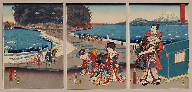 UTAGAWA HIROSHIGE II ( 1826-1869) and UTAGAWA KUNISADA (1786-1864) Travelers at Enoshima with figures by Kunisada and landscape by Hiroshige II Sôshu, Enoshima 1861, 10th month Ôban tate-e triptych